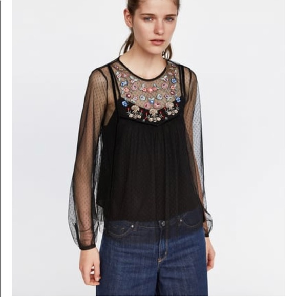 ecfd268a48 Zara Dotted Mesh Top w/ Embroidery